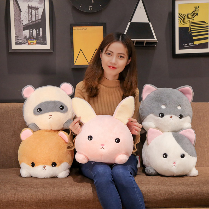 Cartoon Stuffed Animals Plush Toys Cute Round Ultra Soft Animals Pliiow Rabbit Cat Mouse Shiba Inu Kids Plushie Doll Girls Gift