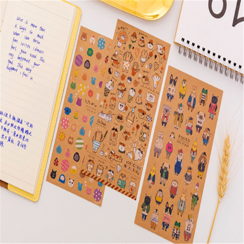 1pcs/lot New Japanese Kraft Paper Cat Sticker Diary Handmade Paper Label Sealing DIY Decorative Sticker Stationery