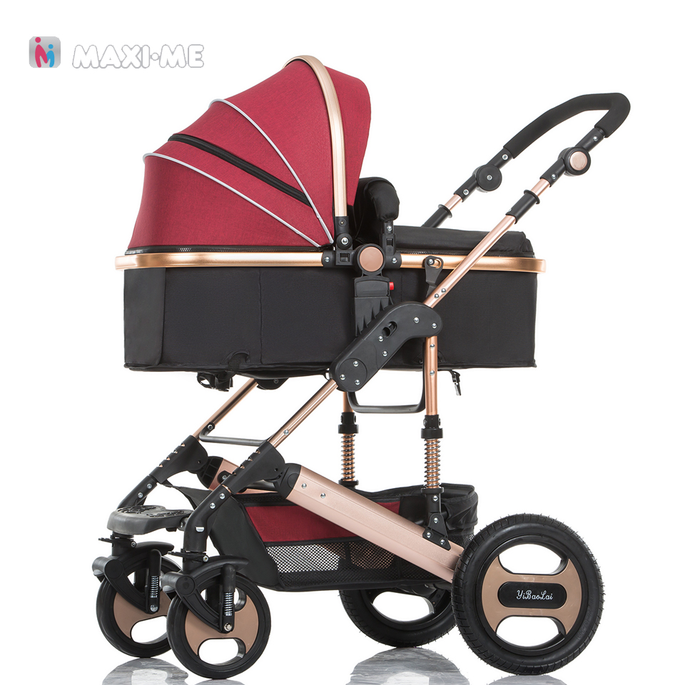 Aluminum Baby Stroller 2 in 1 High Views Pram Foldable Baby Travel System Folding Carriage Carrinho-de-bebe 2 em 1 Cochecito 45 cm silicone reborn babies dolls for girls toys lifelike newborn baby bonecas with clothes reborn silicone babies for sale