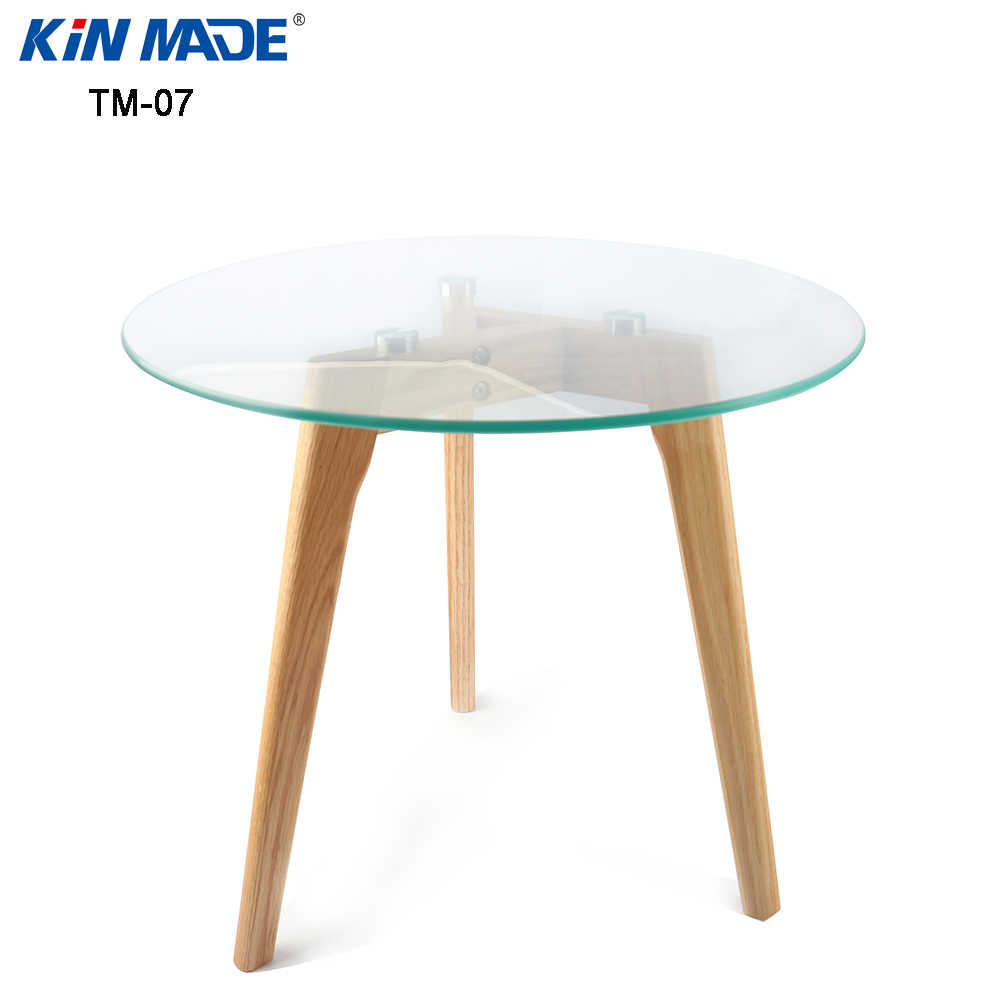- Kinmade Round Coffee Table Solid Wood Oak Legs Tempered Glass Top