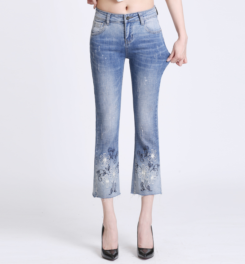 KSTUN Women Jeans with Emboridered Retro Blue Stretch Flare Pants Boot Cut High Waist Gloria Jeans Vintage Plus Size Femme Mujer 17