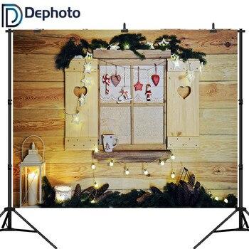 Dephoto fotografía telón de fondo ventanas de madera decoraciones de Navidad Pino rama Fondo foto estudio diseño cámara fotográfica