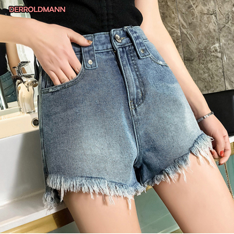 Ladies Jeans Womens High Waist Washed Wide Leg Pants Shorts Loose Jeans Pants Korean Women Bleached Ripped Denim Cotton