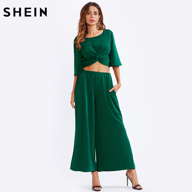 b7c34ac04b Aliexpress.com : Buy SHEIN Two Piece Set Green Twist Front Half Sleeve Crop  Top With Slit Palazzo Pants Set Party Womens Sets Two Piece from Reliable  women ...