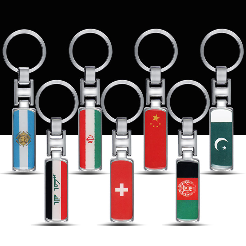 Metal National flag Car Keychain For Argentina Iran Iraq Switzerland China <font><b>Afghanistan</b></font> Pakistan Car styling key ring accessories image