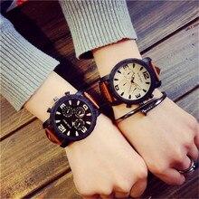 Модные и повседневные парные часы с большим циферблатом, мужские спортивные часы, женские часы с кожаным ремешком, Прямая поставка