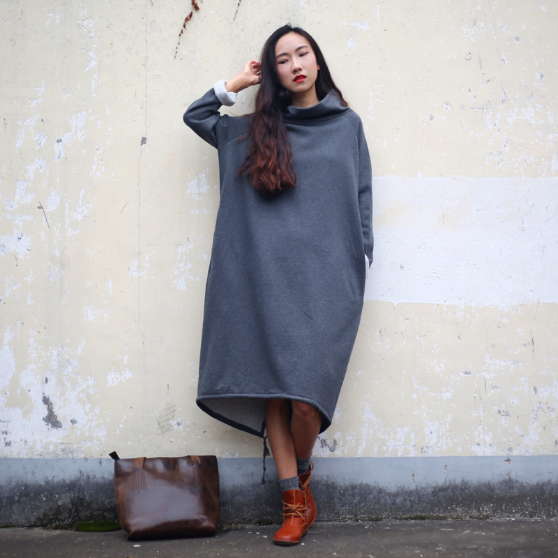 SCUWLINEN 2019 Autumn Winter Dress Women Cotton Dress Solid Long Fleece Thickening Turtleneck Casual Loose Plus