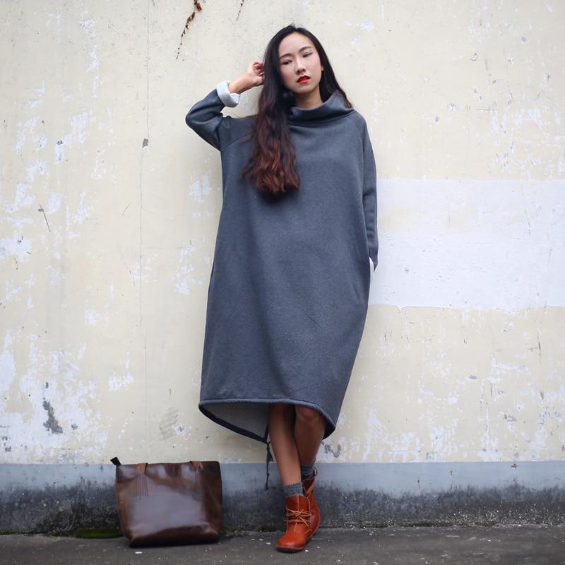 SCUWLINEN 2019 Őszi téli ruha Női Pamut ruha Szilárd hosszú gyapjú sűrűségű nyakkendő Alkalmi laza plusz méret Parka S60