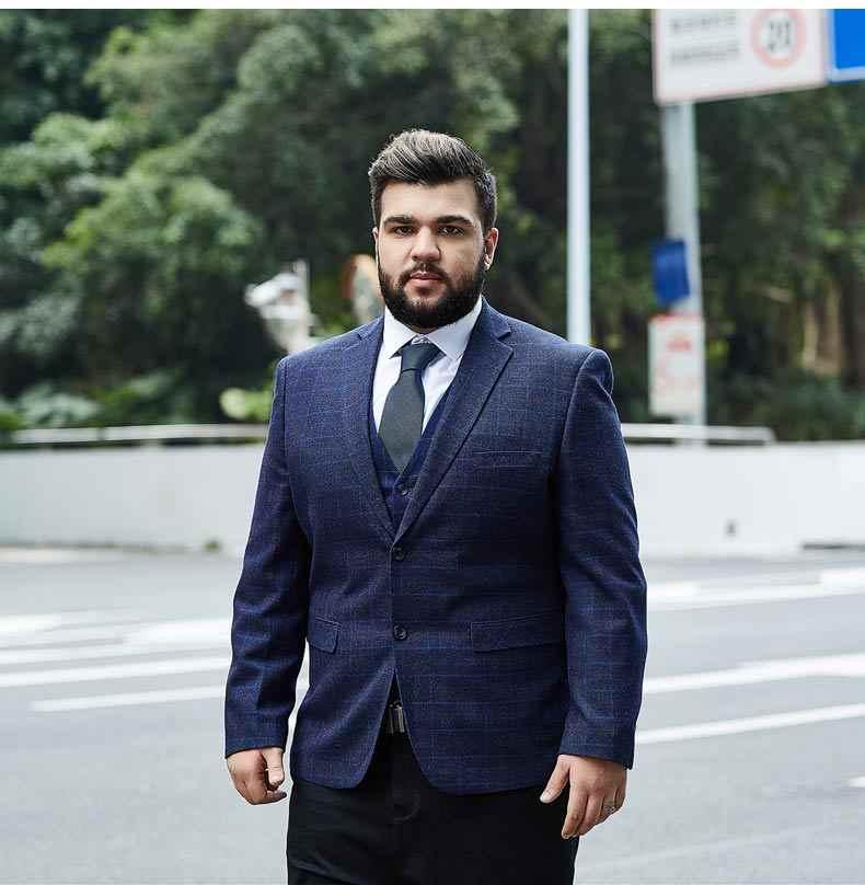 6a50672cb5c ... Men s plaid blazer big men s suit super large uniform grid dress jacket  high quality wholesale price