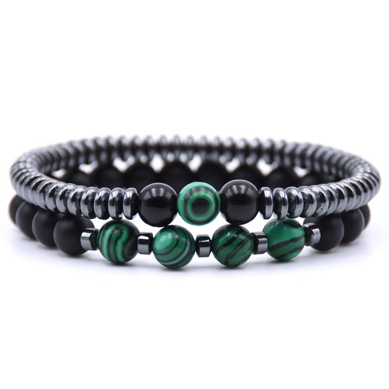 HYHONEY 2PCS/Set Fashion Natural stone 8mm beads Bracelet men 6mm Hematite Round tablets Chain Bracelets For Women pulseras