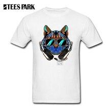 Streetwear Custom Made T shirt Bar T Shirts DJ Crazy Cat Round Neck Short Sleeve Rock