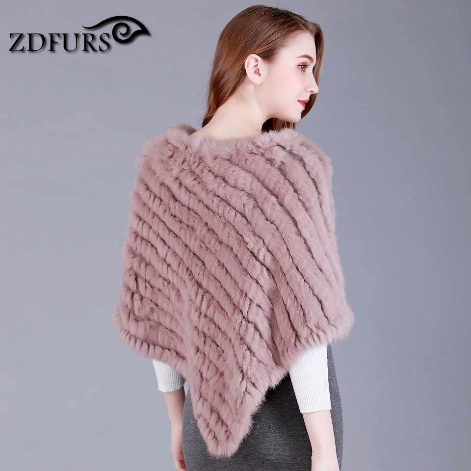 0dfac944a ... ZDFURS * Real Knitted Rabbit Fur Poncho Wrap Pashmina scarves Female  Party Pullover natural rabbit fur