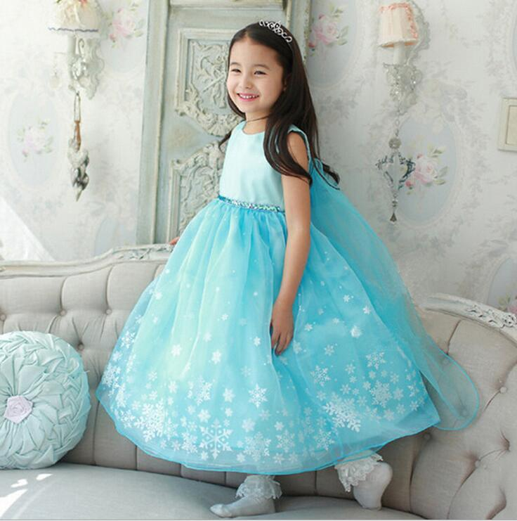 Hot sale girls dress Children girl Snow queen Elsa dress summer girls princess dress many designs