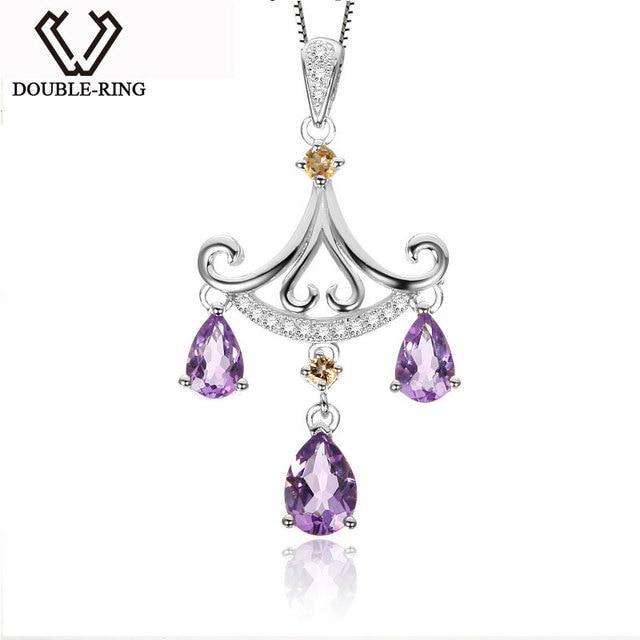 DOUBLE-R Purple Pendants Women Amethyst 925 Sterling Silver Water Drop Necklaces Pendants Christmas Gift Fine Jewelry CAP02430A