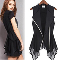 Women's Summer Fashion Chiffon Zipper Patchwork Slim Coat Sleeveless Top Vest