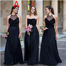 A Line Chiffon Long Black Bridesmaid Dresses Different Styles Same Color Formal  Gown African Plus Size 3824a324baf7