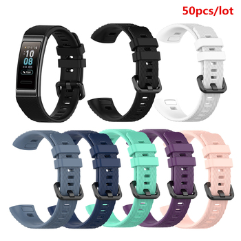 50pcs/lot Watchband Silicone Band for Huawei Band 3 Pro Smart Watch Wristband Strap for Band 3 Pro Smart Bracelet Strap
