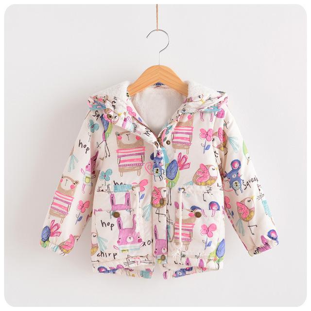 Ins Coelho Impresso Criança do Inverno Da Menina Crianças Vestuário Coreano Engrossar Casaco Jaqueta de Veludo Com Hoddies Para A Idade 2-8, branco/Azul Escuro