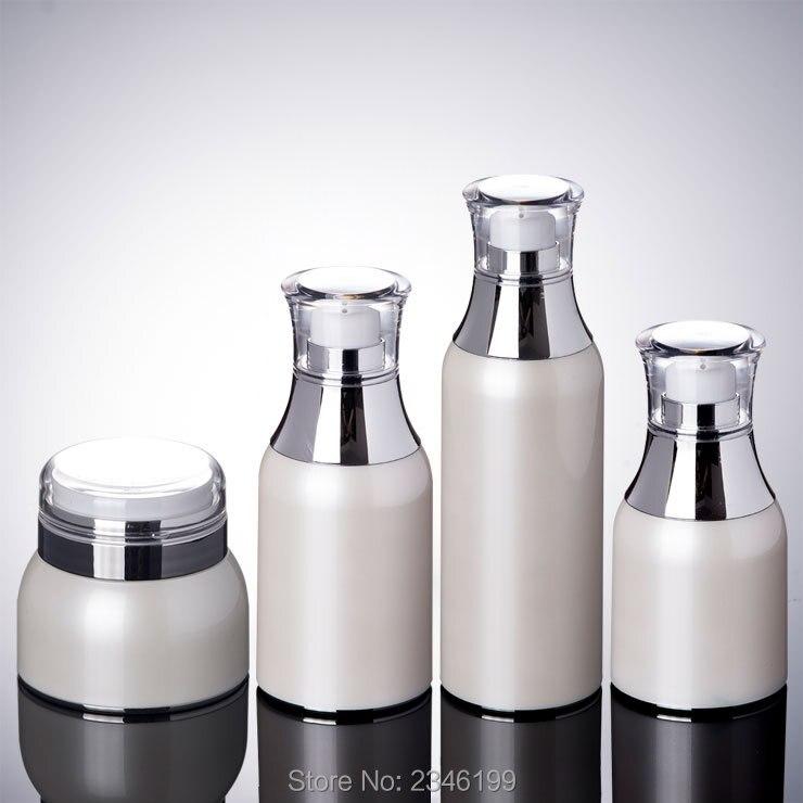 цена на 10Pcs/Lot 50ML 100ML 30G 50G White Elegant Empty Airless Cream Jar, DIY PETG Plastic High Quality Emulsion Bottle, Makeup Tool