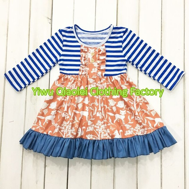 5475a3604 hot sale Wholesale High quality boutique fox design kids dress-in ...