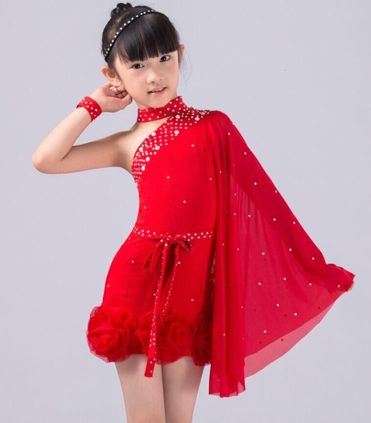 New Arrive Girl Latin Dance Dress Kids tango Dance Dress for Girls Standard Ballroom Dress for Competition Flamengo Costumes