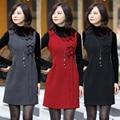 2016 das mulheres da Moda vestido tanque de lã fina sem mangas plus size bowtie colete tanque vestido vermelho, preto, cinza XS, S, M, L, XL, XXL, 3XL, 4XL