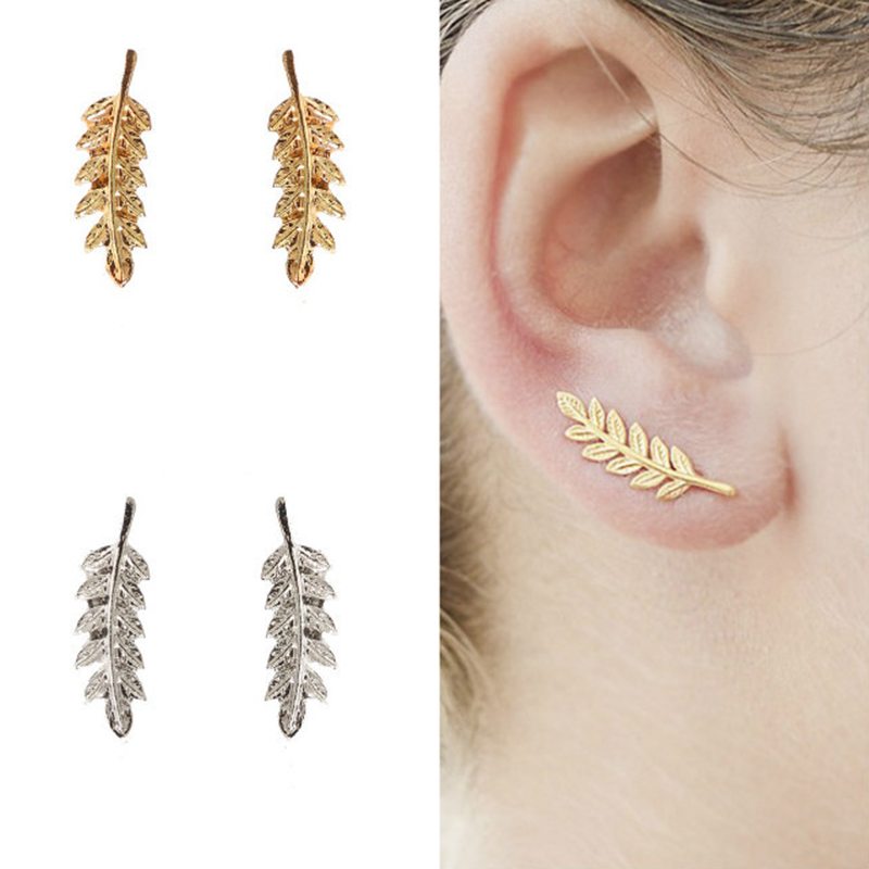 Women U Shaped Graceful Earring Allergy Free Leaf Silver 1Pair 2018 New Arrival Unique Simple Girls Beautiful Tree Korean Golden золотые серьги по уху