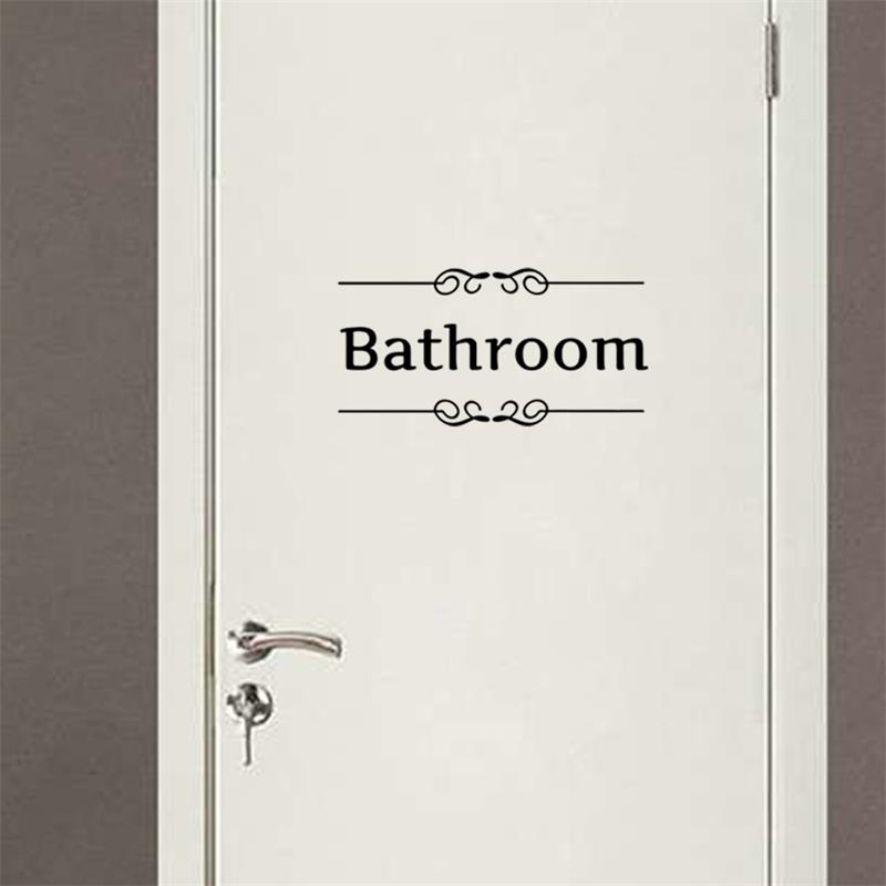 Free shipping Vintage Wall Sticker Bathroom Decor Toilet Door Vinyl Decal Transfer Vintage Decoration Quote Wall Art