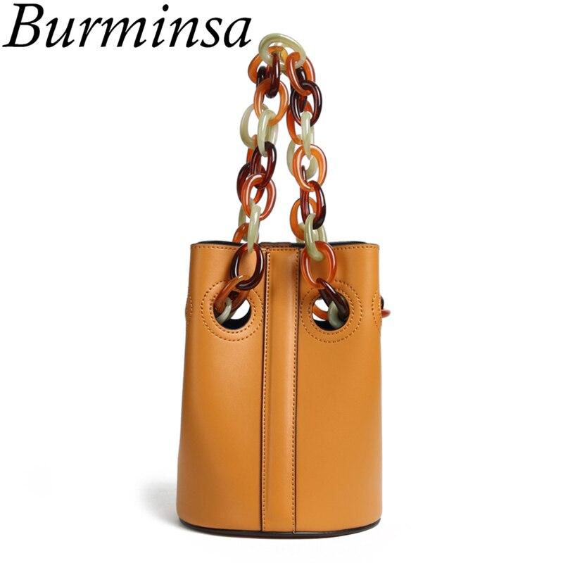 Burminsa 독특한 디자인 아크릴 체인 스트랩 버킷 정품 가죽 가방 작은 여성 숄더 메신저 가방 숙녀 핸드백 2019-에서숄더 백부터 수화물 & 가방 의  그룹 1