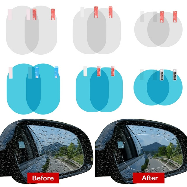 2PCS/Set Car Accessories Anti Fog Rainproof Car Mirror Window Clear Film Anti-glare Waterproof Car Sticker Driving Safety 2