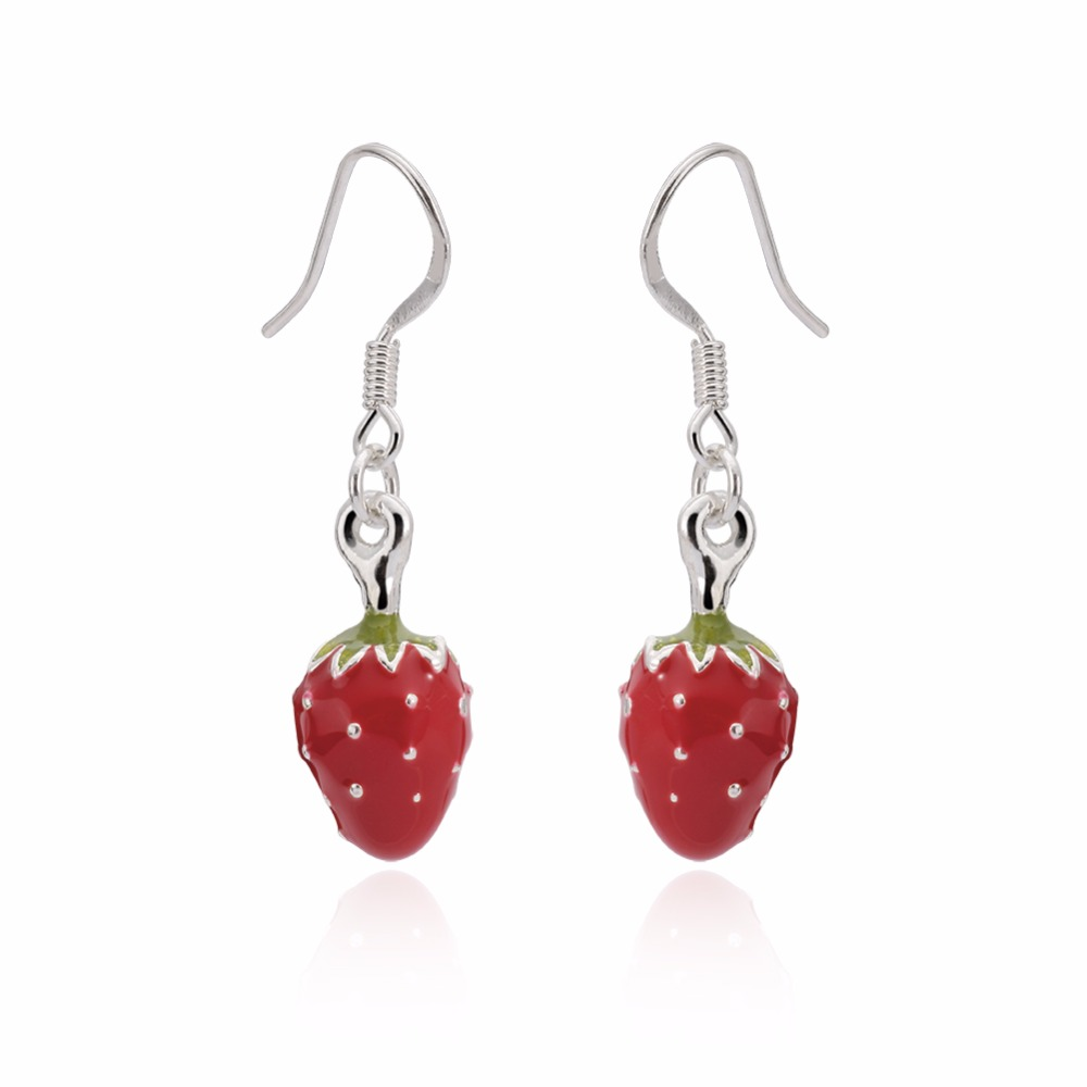 Girls Strawberry Colorful Ear Studs 925 Sterling Silver