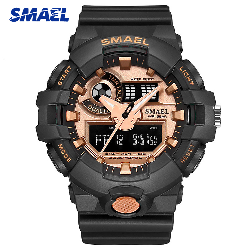 SMAEL Men Fashion Casual Digital Quartz Wristwatches Student Sports Watches Male Military Alarm Relogio Masculino Men's Watch