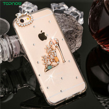 "Diamond design Clear soft TPU+PC Phone cases for iPhone 6 6S 4.7"" bottle shoes crown Crystal Rhinestone Dust plug back cover"