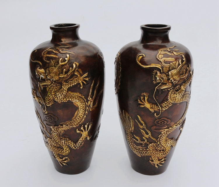 A vase of pure copper Dragon Phoenix wedding Home Furnishing decoration decoration crafts collection