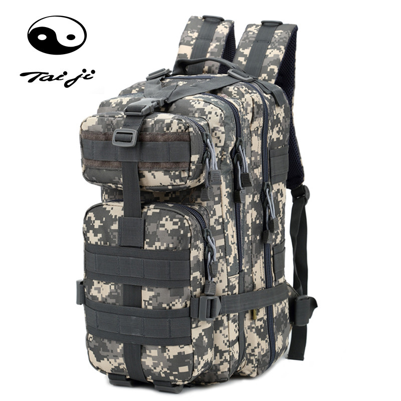 Taiji Outdoor Sport Large Capacity Mountaineering Travel Camping Backpack Hiking Military Molle Camo Waterproof Tactical Bag