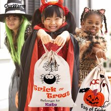 Ourwarm 1pc Cotton Canvas Halloween Bags Trick or Treat Bags with Pumpkin Spider Web Decoration Halloween Sack Decoration(China)