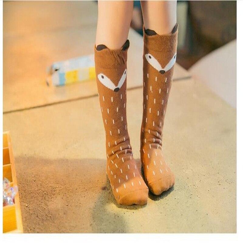 1 Pair Unisex Lovely Cute Cartoon Fox Children baby Knee-lads girl Boy Child Toddler Socks animal infant Soft Cotton long socks