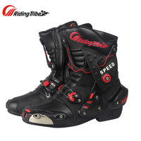 Riding Tribe Microfiber Leather Motorcycle Boots Anti skid Anticollision Wearable Motor Bike Racing Shoes Motocross Boots A010