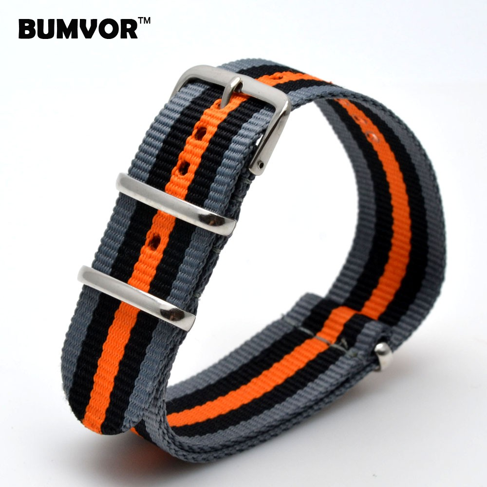 Couple Watchbands 22 Mm Strong Military Army Grey Black Orange Nato Fabric Nylon Watch Watchband Woven Straps Bands Buckle Belt