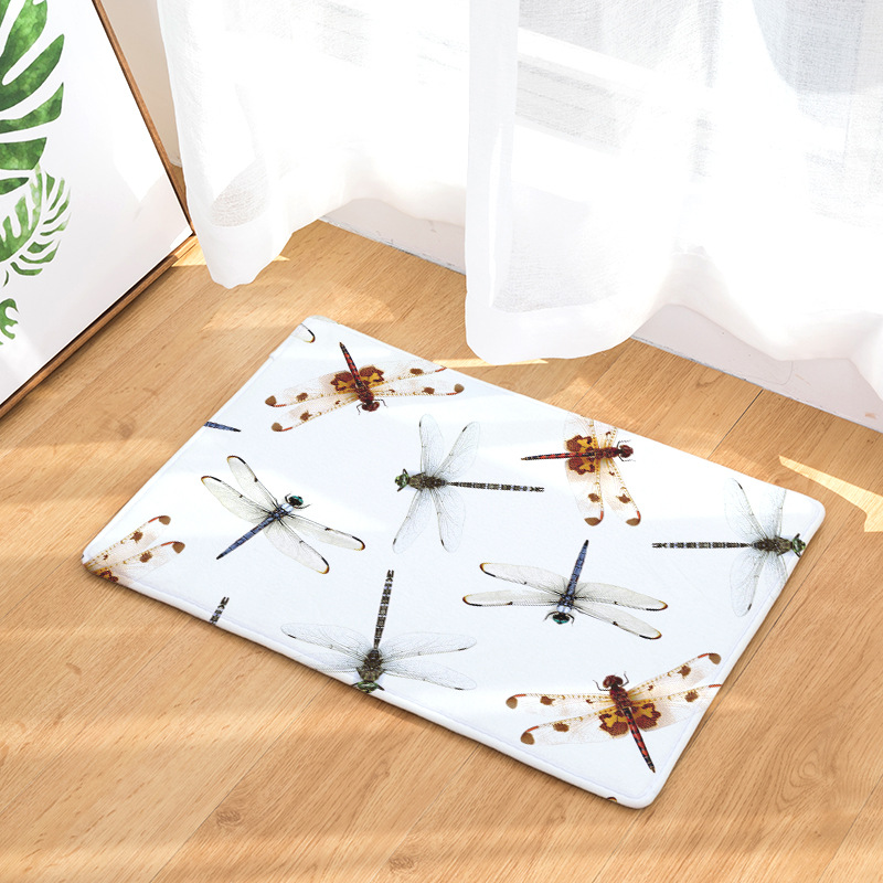 CAMMITEVER Insect Dragonfly Butterfly Non-slip Mat Foyer Foot Carpet Rug Household Kitchen Door Pad Fashion Rugs For Bedroom