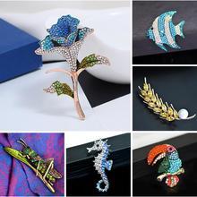 Women Men Vintage Retro Rhinestone Crystal Brooch Pin Party Insect Flower Bird Fish