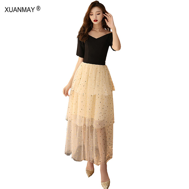 a53611016482c4 Summer 2019 Women's Ladies Temperament Chiffon Dress Bright Mesh yarn  stitching Black Lace Dress Banquet party Women's Dress
