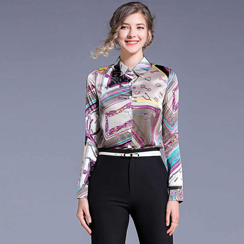 Весенне-осенние женские рубашки, новинка, высокое качество, Джокер, топ с длинными рукавами, модная рубашка с отворотом, тонкая рубашка с принтом, женские блузы и топы NO916