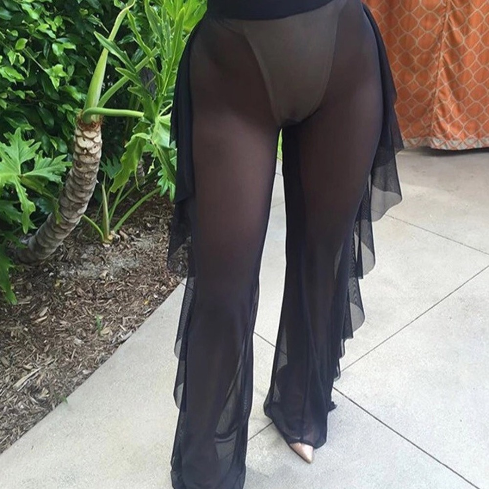 Mesh Sheer Ruffled Flounce Wide Leg Pants Trouser Beach ...