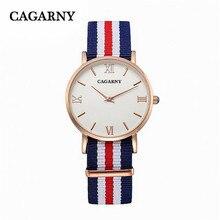 36 MM de Lujo mujeres de la marca de moda de nylon ocasional Delgada de oro rosa Roma relojes de pulsera de las señoras vestido de relojes de regalo de alta calidad a prueba de agua