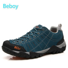 Beboy Waterproof Hiking Shoes Men Women Genuine Leather Climbing Trekking Shoes Sneakers Resistant Outdoor Hunting Sport Shoes