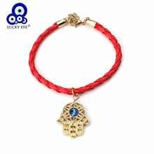 Lucky Eye Hamsa Hand Charms Bracelet Leather Rope Bracelet Evil Eye Pendant Bangle For Women Men Jewelry Gifts Adjustable EY192(China)