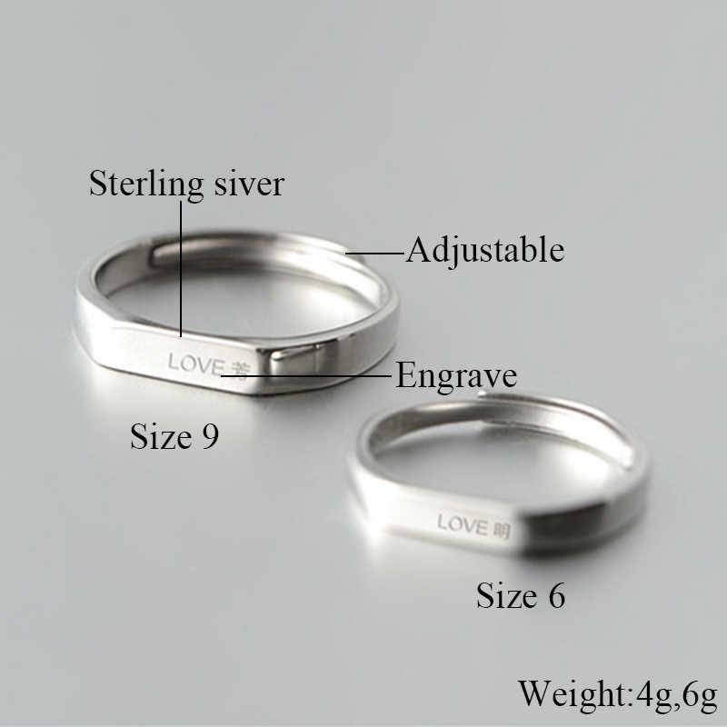 925 เงินสเตอร์ลิงแหวนคนรักคลาสสิกที่เรียบง่ายเปิดแหวนผู้หญิงผู้ชายคู่แต่งงานเครื่องประดับ DIY แกะสลัก