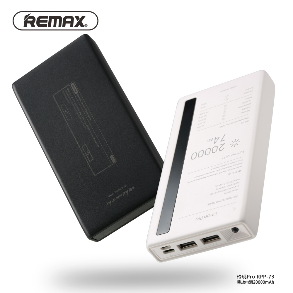 US $34 99 30% OFF|100% Original Remax RPP 73 Power bank 20000 mAh Mobile  Phones Emergency Power Bank Double USB External Battery Charger  Universal-in