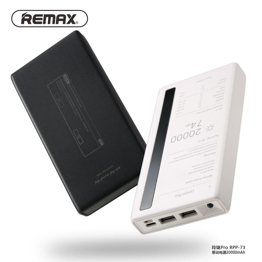 100% Original Remax RPP-73 batterie externe 20000 mAh téléphones mobiles chargeur portatif de secours Double USB chargeur de batterie externe universel